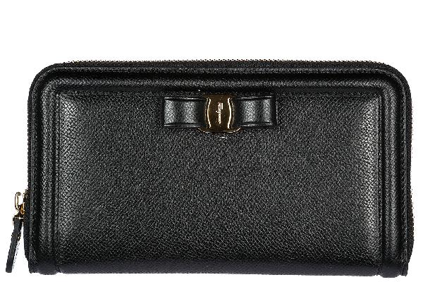 Salvatore Ferragamo Women's Wallet Leather Coin Case Holder Purse Card Bifold In Black