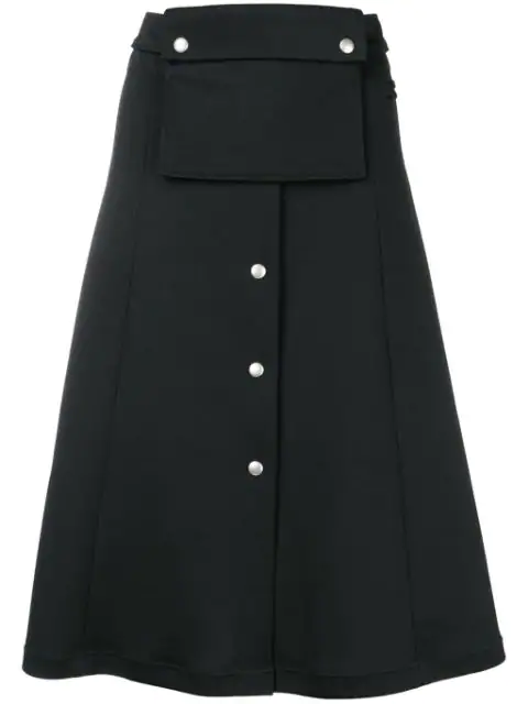 CourrÈGes A-Line Midi Skirt In Black