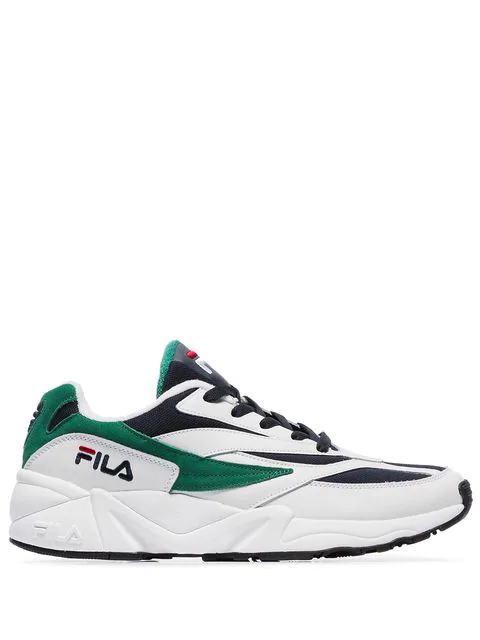 Fila White-green Leather And Fabric 94 Low Sneakers