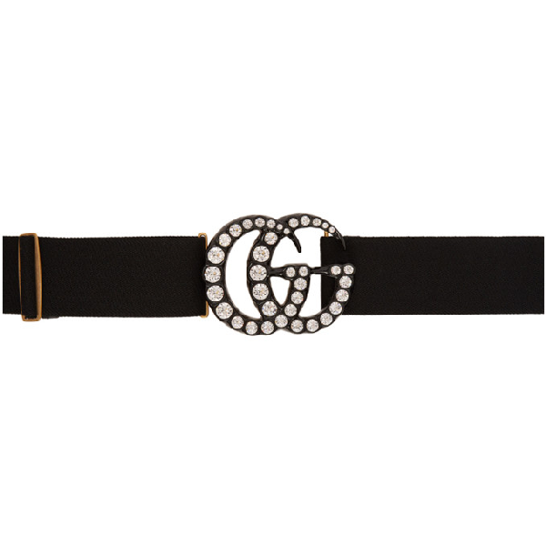 Gucci Elastic Belt With Crystal Double G Buckle In 1077 Black
