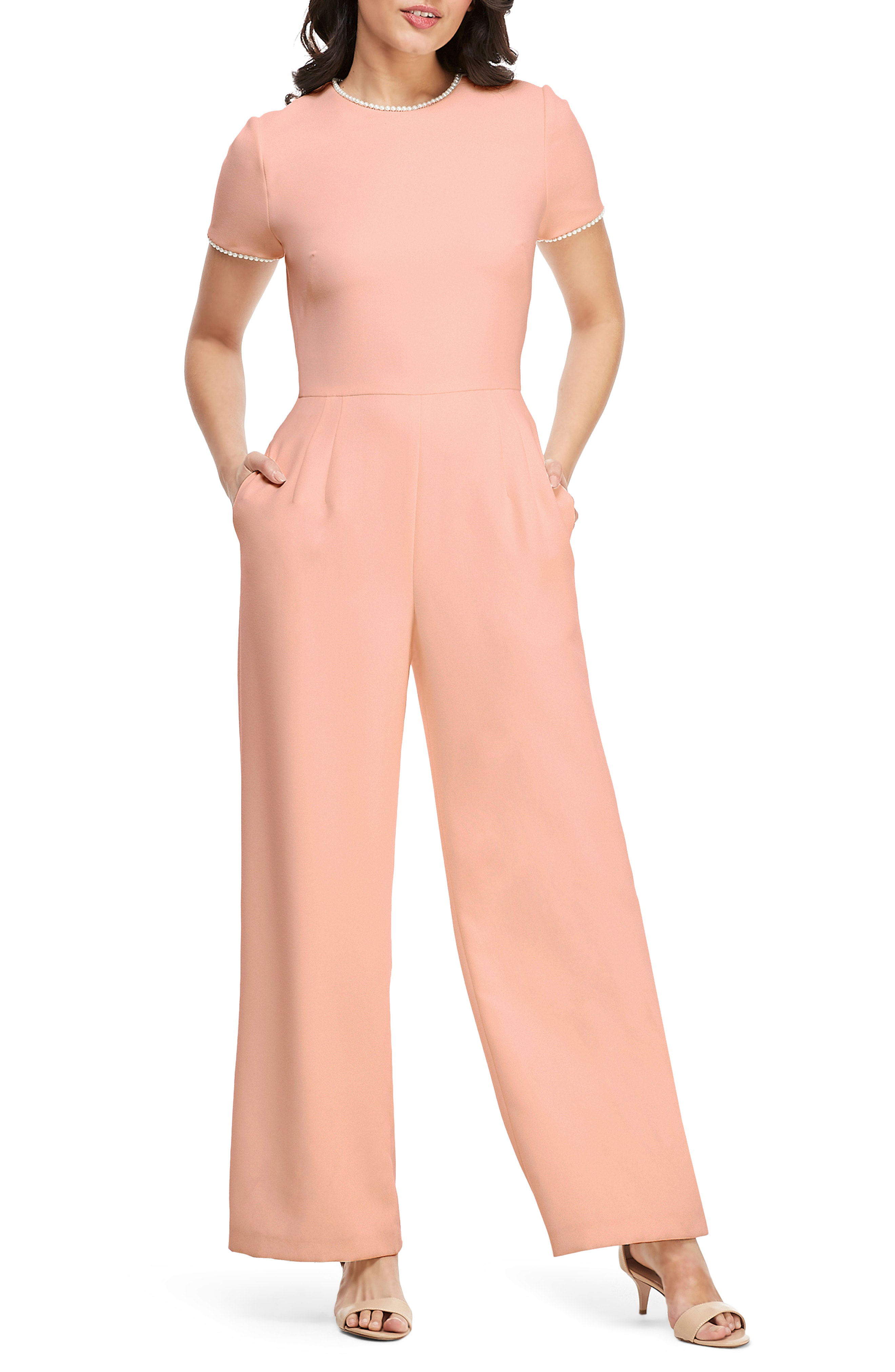 Gal Meets Glam Collection Pearl Trim Jumpsuit In Puff Pink | ModeSens