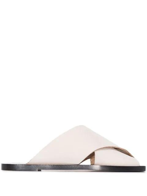 Atp Atelier Alicia Crossover Strap Sandals In White