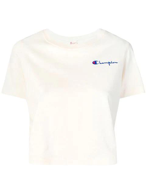 Champion Cropped T Shirt Mit Logo Stickerei Nude in Neutrals