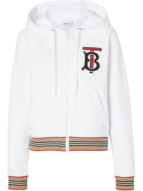 Burberry Icon Stripe Detail Monogram Motif Hooded Top In White