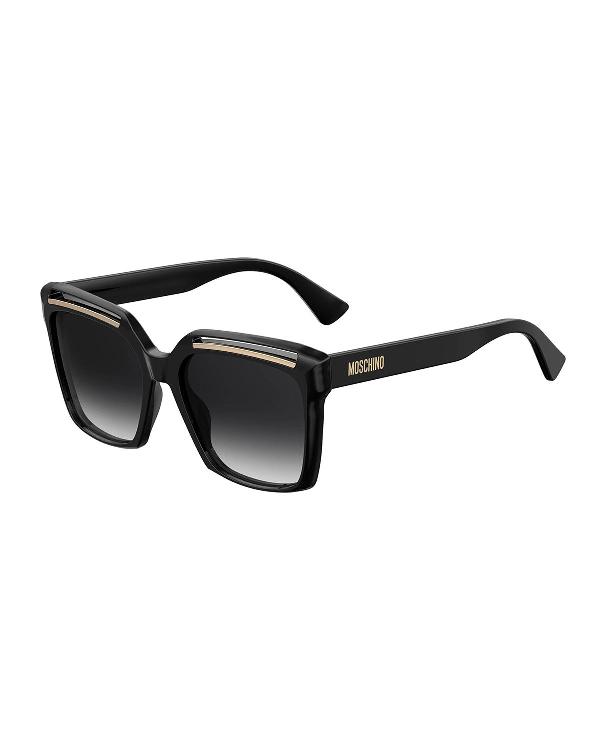 Moschino Square Cutout Acetate Sunglasses In Black/dark Gray
