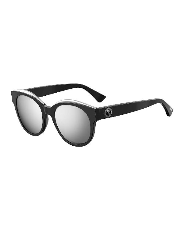 Moschino Mirrored Round Acetate Sunglasses In Dark Havana