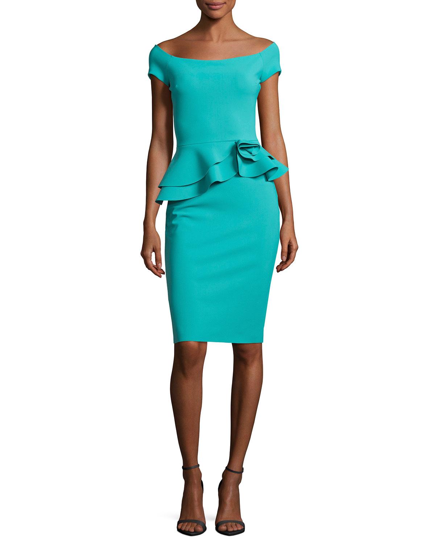 e4a06553e46535 Chiara Boni La Petite Robe Lady Cap-Sleeve Peplum Cocktail Dress In ...