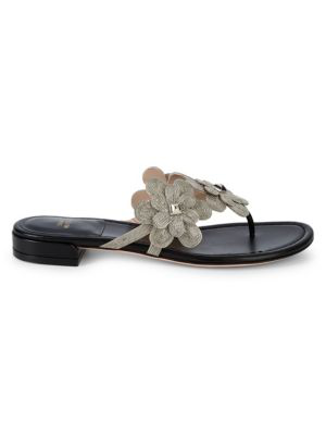 Stuart Weitzman Livewire Metallic Floral Flat Sandals In Black