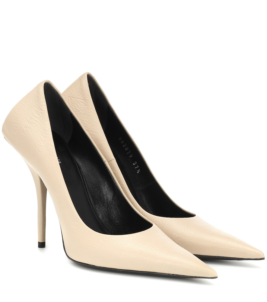Balenciaga Square Knife Leather Pumps In Beige