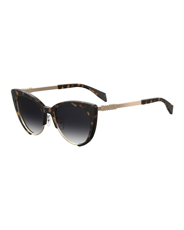Moschino Mirrored Cat-eye Sunglasses In Brown/dark Gray