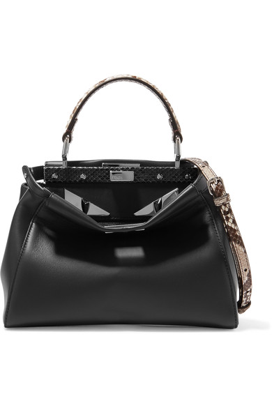 6b260c962558 Fendi Peekaboo Mini Python-Trimmed Leather Shoulder Bag In Black ...