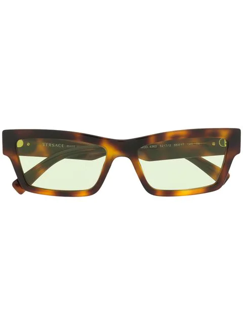 359c2b764b0f Versace Eyewear Rectangular Frame Glasses - Brown | ModeSens