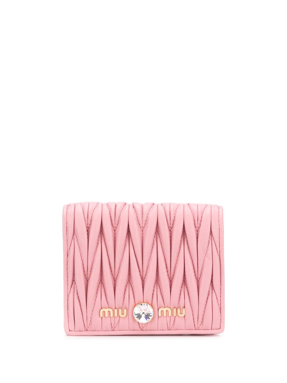 3224075281a Miu Miu Matelassé Leather Wallet - Pink