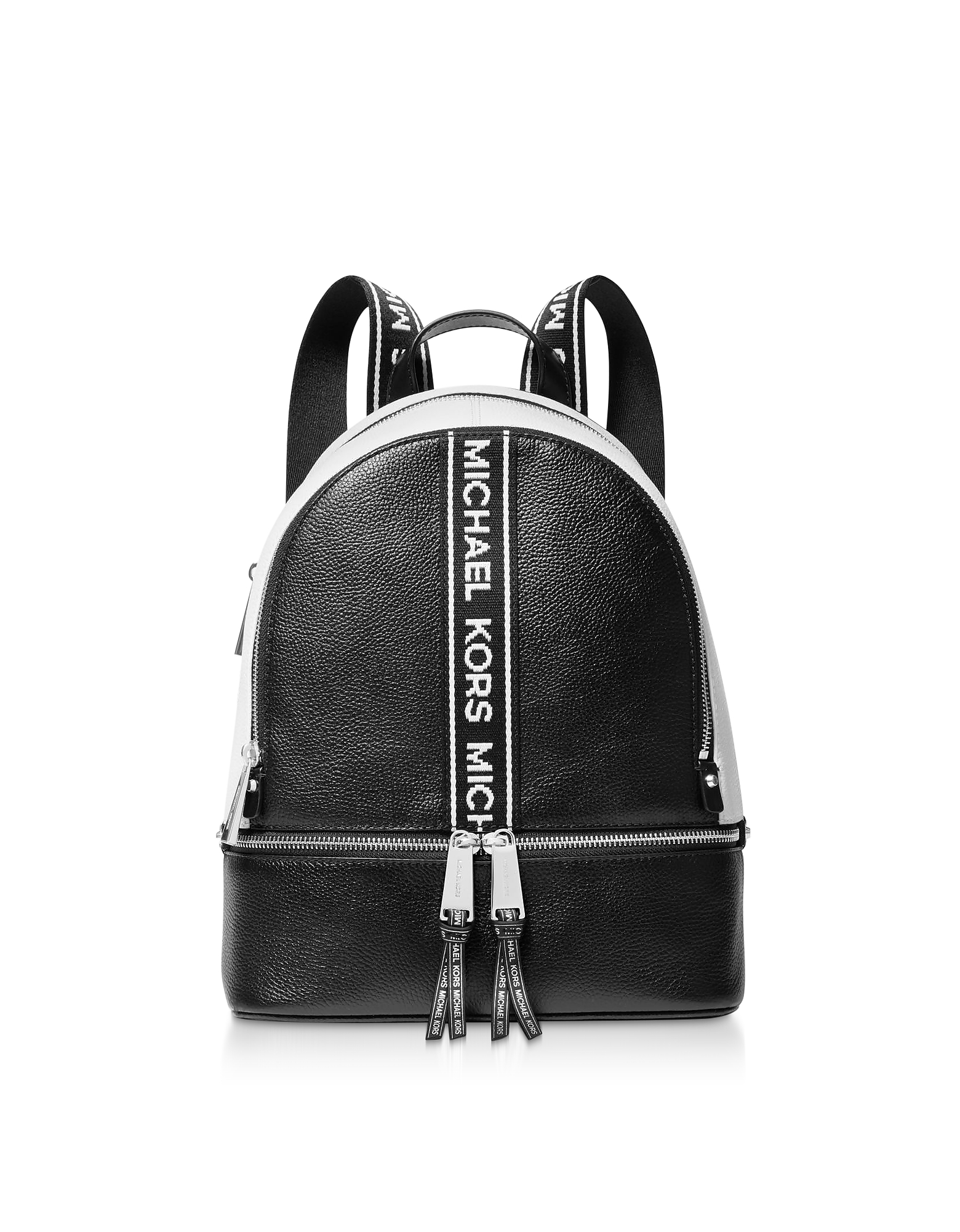 2b9b5125763b Michael Kors Black And White Rhea Zip Medium Backpack In Black   White. SIZE    FIT INFORMATION