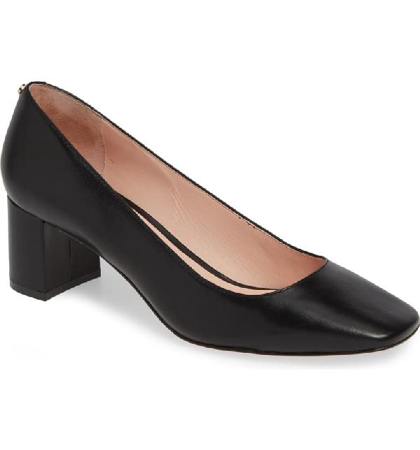 Kate Spade Kylah Block Heel Pump In Black Leather