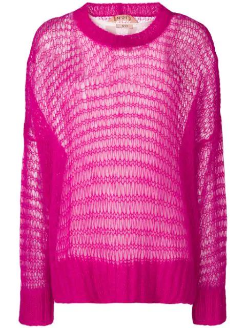 N°21 Nº21 Oversized Loose Knit Jumper - Pink