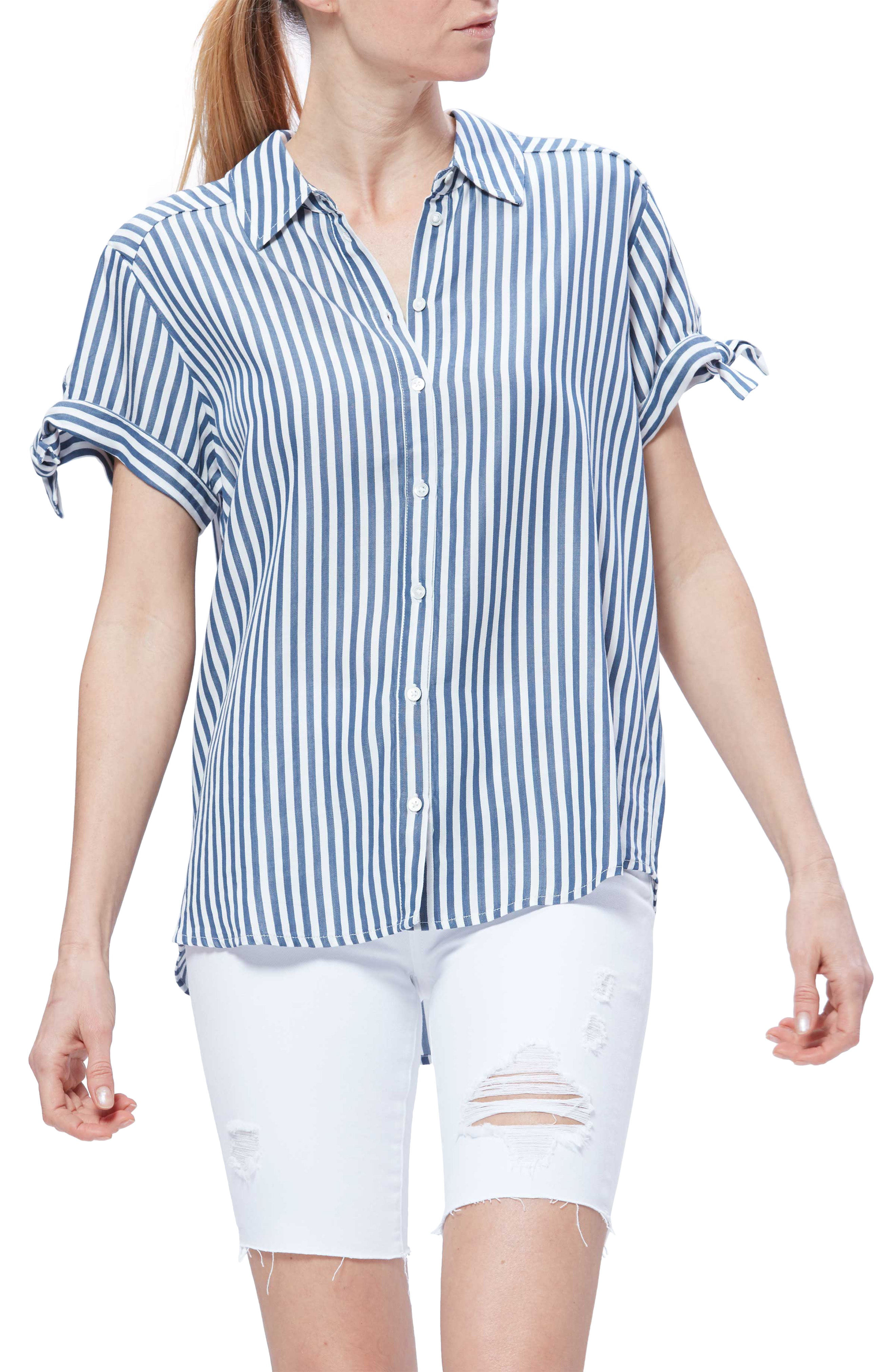 079c43803 Avery Tie Sleeve Button-Up Shirt in Navy/ White