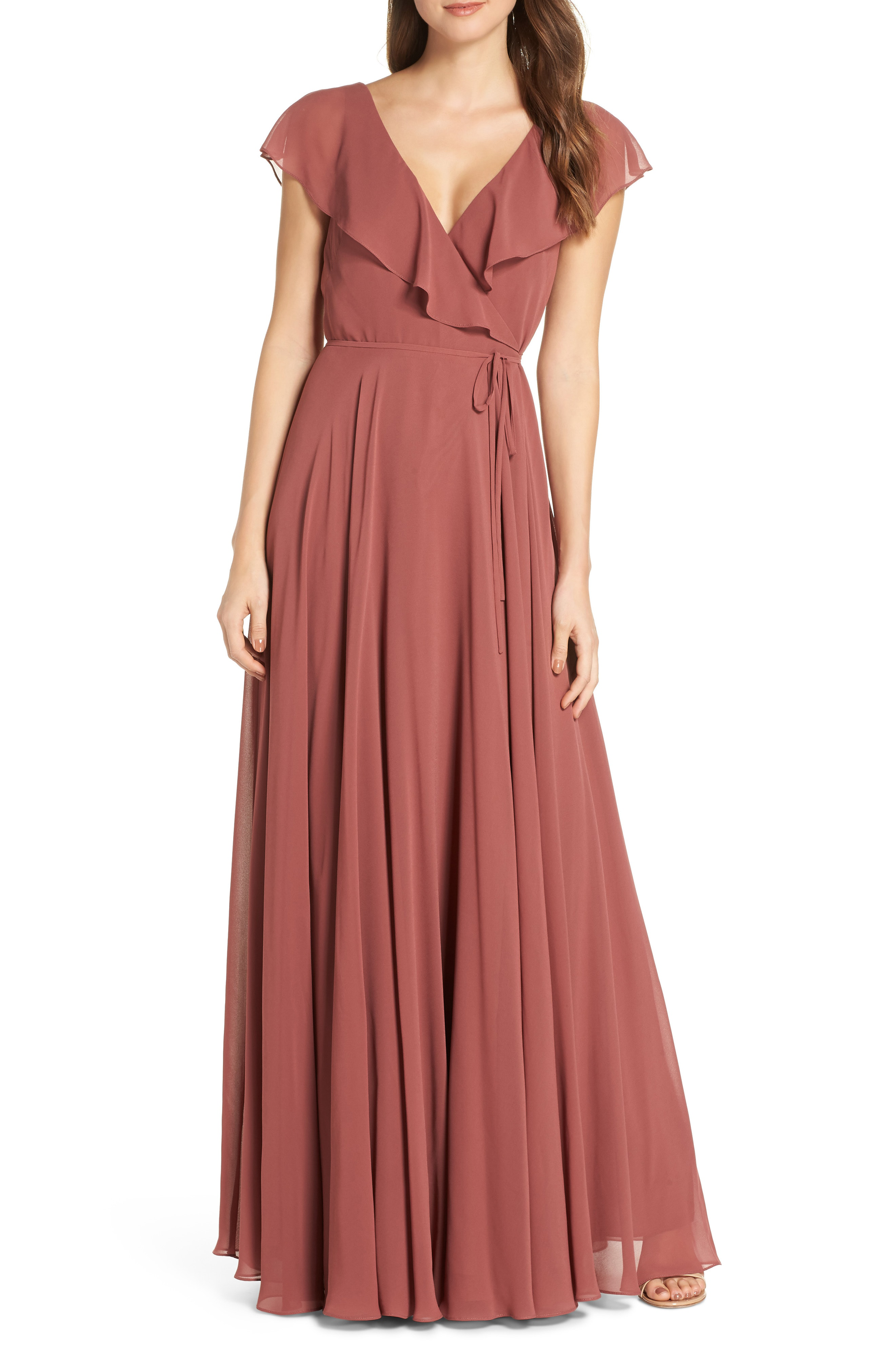 482f82e049c Jenny Yoo Faye Ruffle Wrap Chiffon Evening Dress In Cinnamon Rose ...