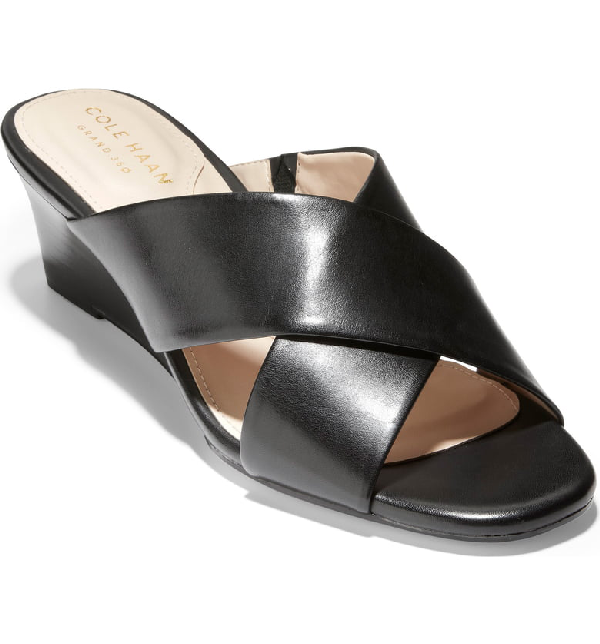 92dea6382f Cole Haan Adley Wedge Sandal In Black Leather | ModeSens