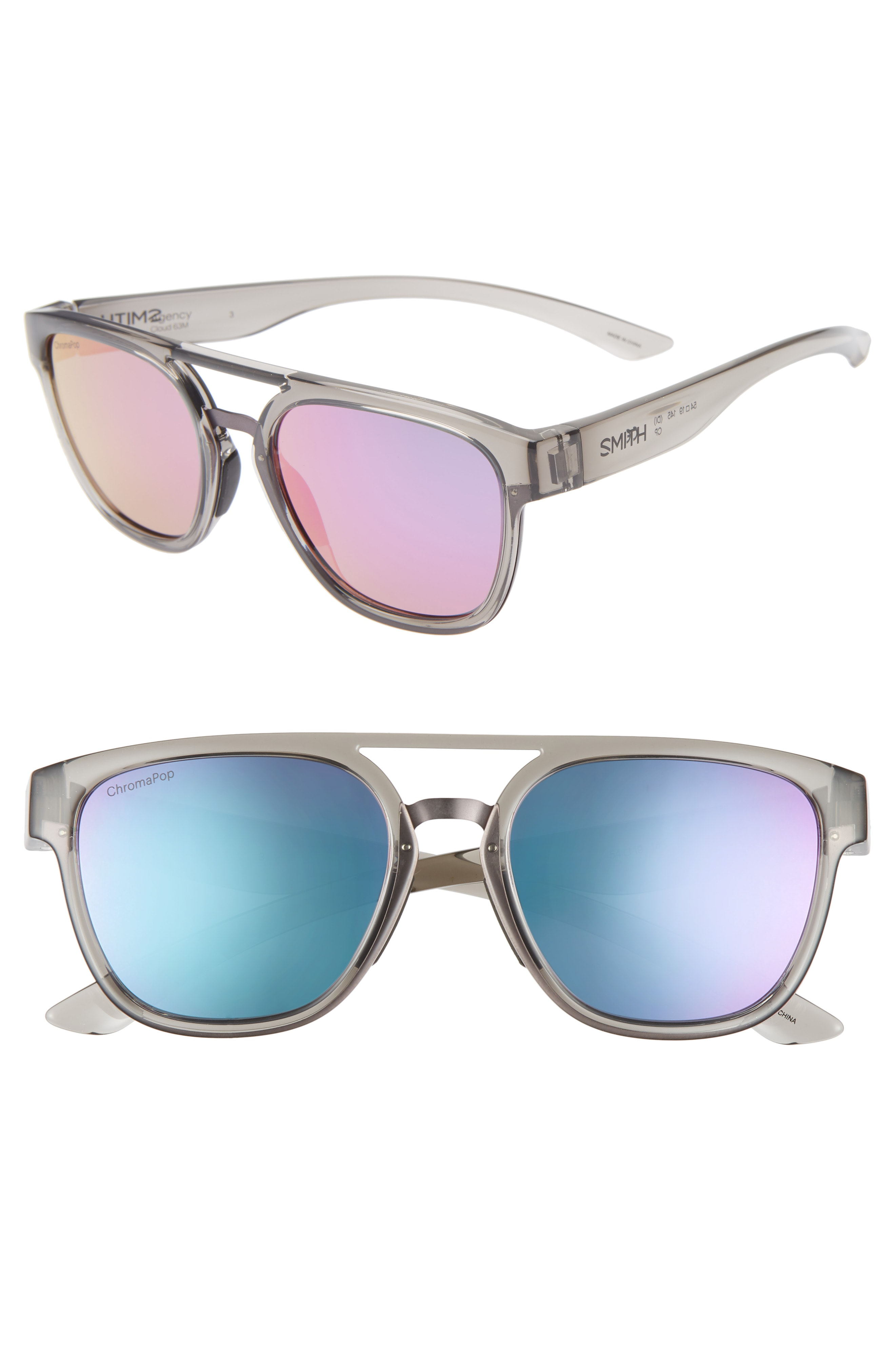Smith Agency 54mm Chromapop(tm) Mirrored Sunglasses In Grey Cloud/ Purple