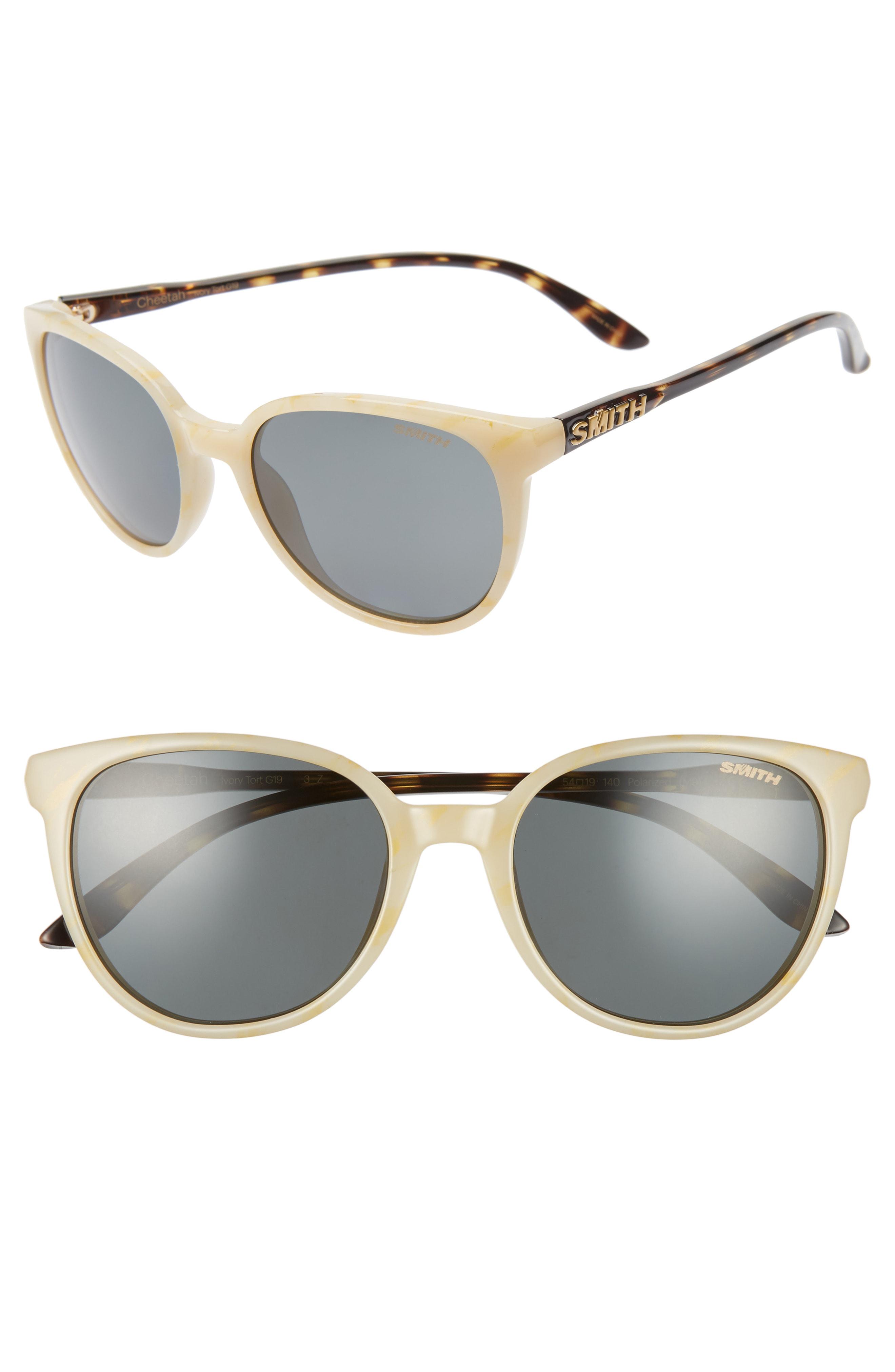 Smith Cheetah 54mm Chromapop(tm) Polarized Round Sunglasses In Ivory Tortoise