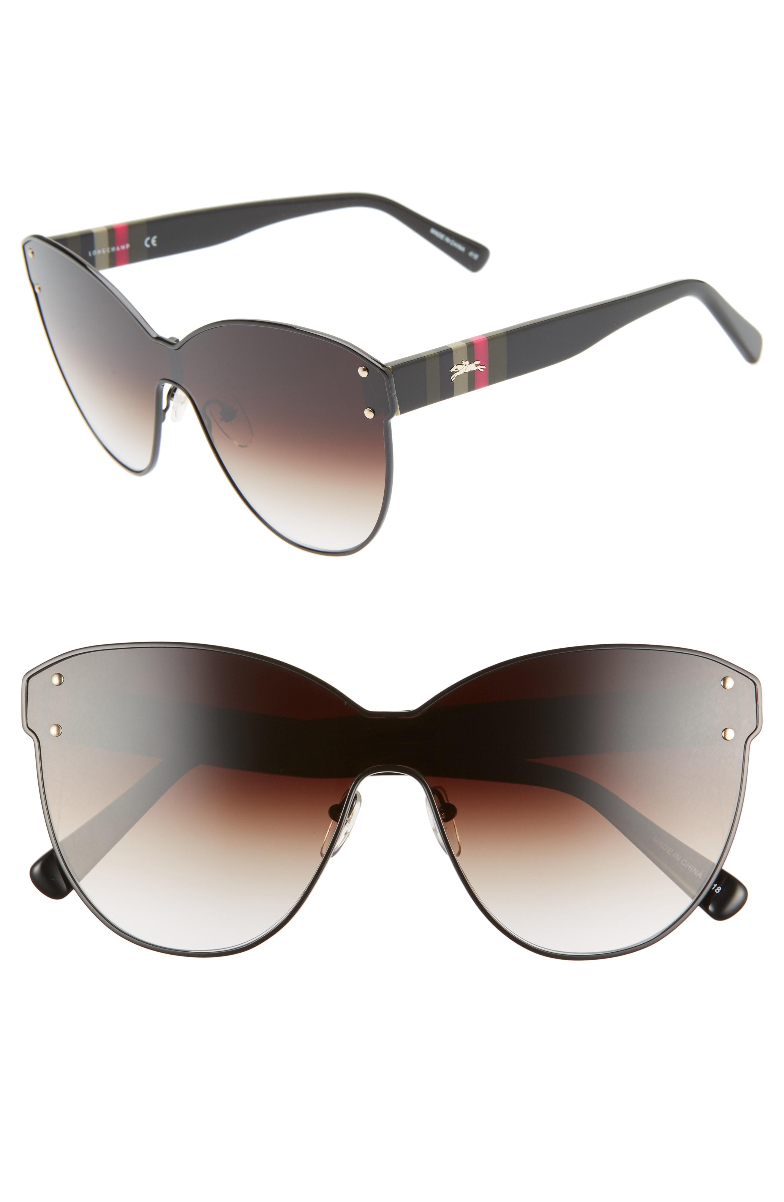 94c498d43786 Longchamp Heritage Stripe 62Mm Oversize Shield Sunglasses - Black ...