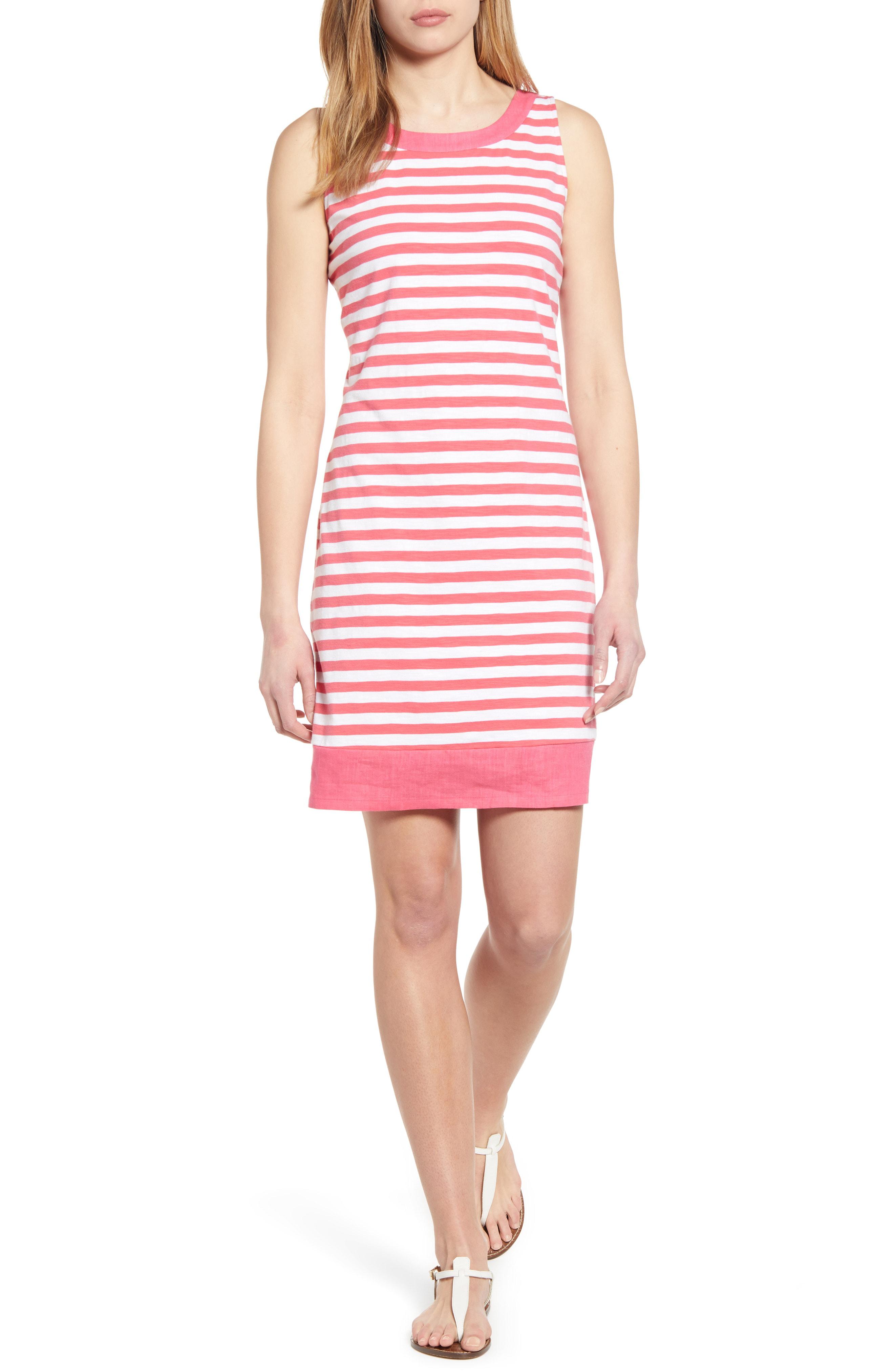 Viale Stripe Short Dress in Paradise Pink
