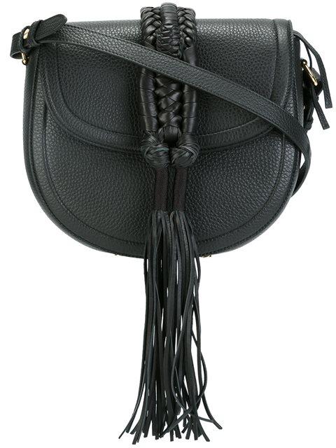Altuzarra Ghianda Bullrope Small Saddle Leather Shoulder Bag In Black