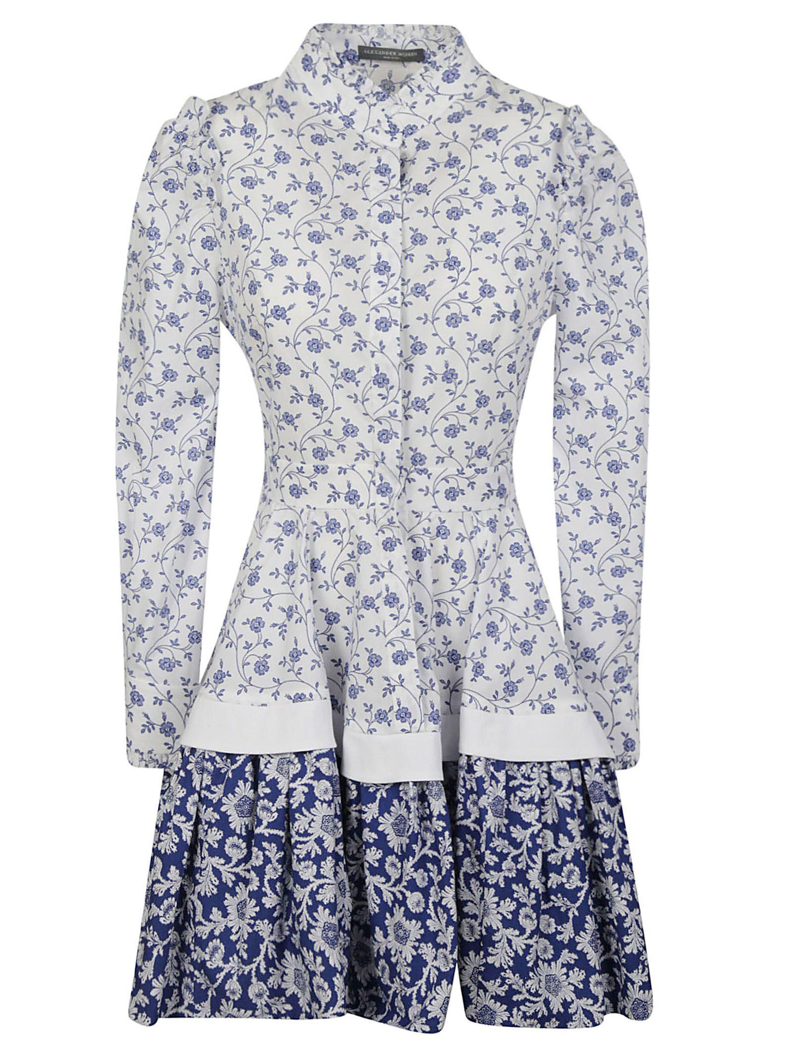 Alexander Mcqueen Floral Print Skater Dress in Basic