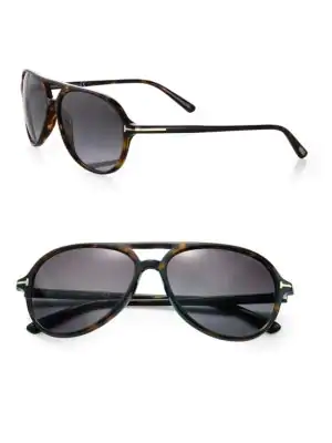 acd949a430b24 Tom Ford Jared Plastic Aviator Sunglasses In Havana