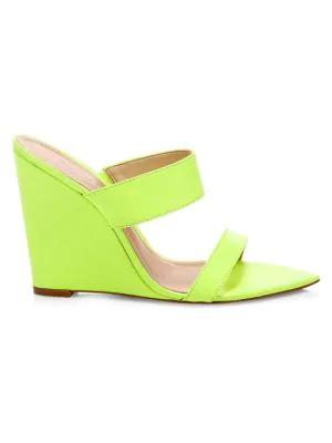 2917e86647ef Schutz Soraya Leather Wedge Mules In Neon Yellow