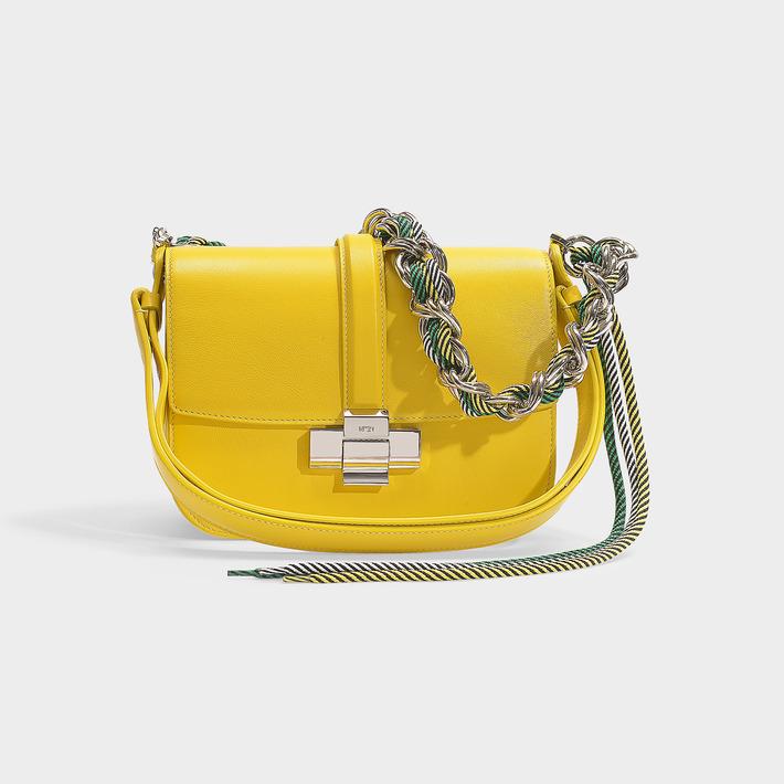 N°21 N21 | Lolita Bag In Black Calfskin In Yellow