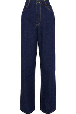 Calvin Klein Collection Woman High-Rise Straight-Leg Jeans Dark Denim