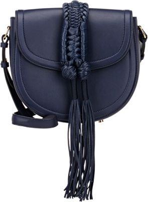 Altuzarra Ghianda Saddle Knot Leather Shoulder Bag In Navy