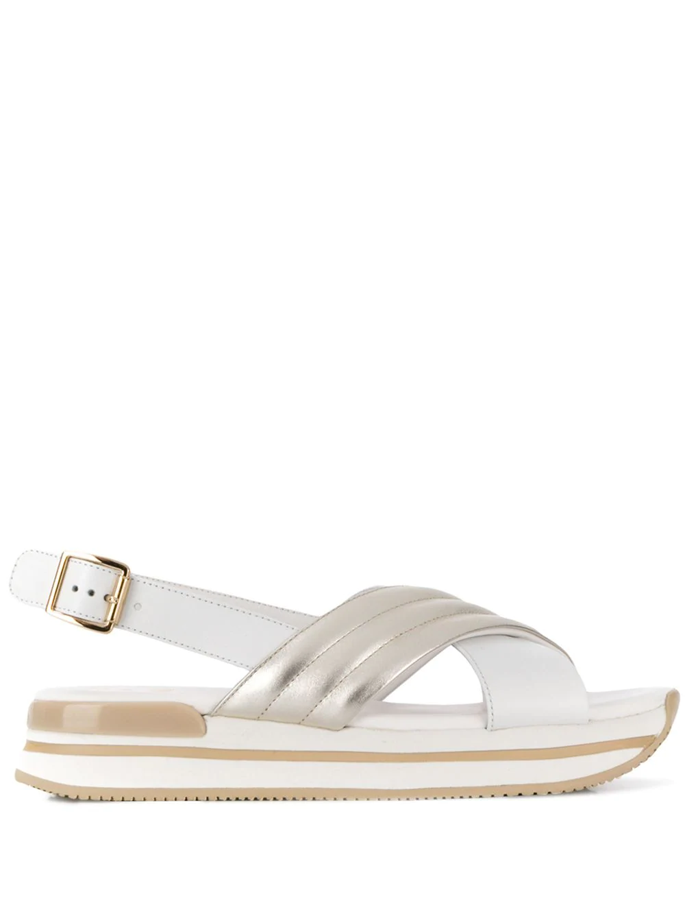 0c746340589 White and silver-tone leather and rubber H222 sandals from Hogan featuring  a ridged rubber sole