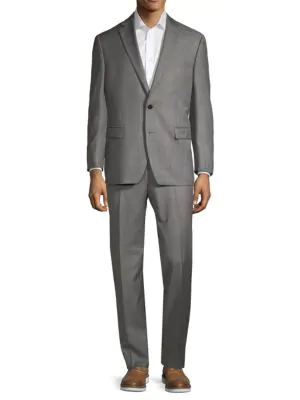 Calvin Klein Classic Fit Windowpane Plaid Wool-blend Suit In Grey