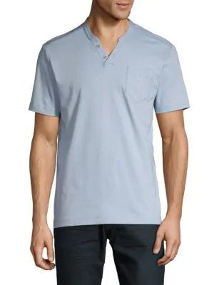 Saks Fifth Avenue Ultraluxe Short-sleeve Henley In Medium Blue
