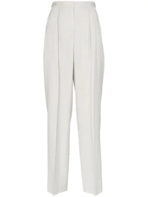 Stella Mccartney Wide Leg Pleated Linen Blend Trousers In Blue