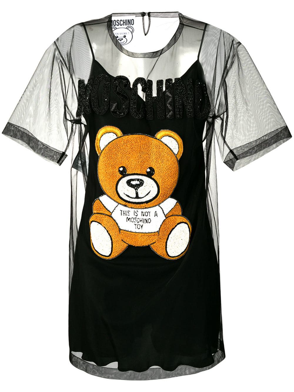 ac238c518db2 Moschino Tulle Bear T-Shirt Dress - Black | ModeSens