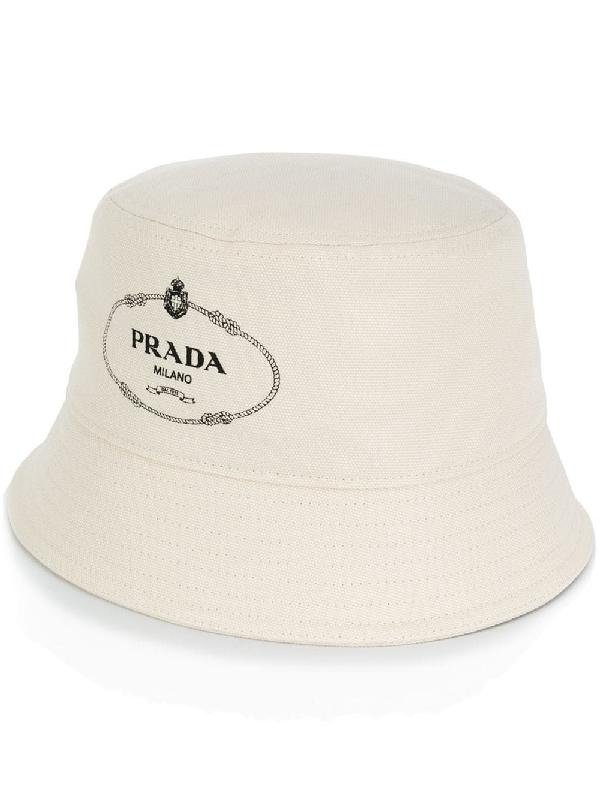 069f193a7abf6a Prada Logo-Print Canvas Bucket Hat In White | ModeSens