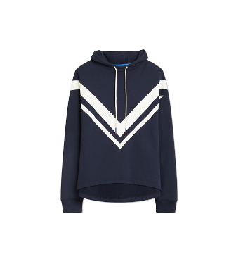 Tory Sport French Terry Chevron Hoodie In Tory Navy