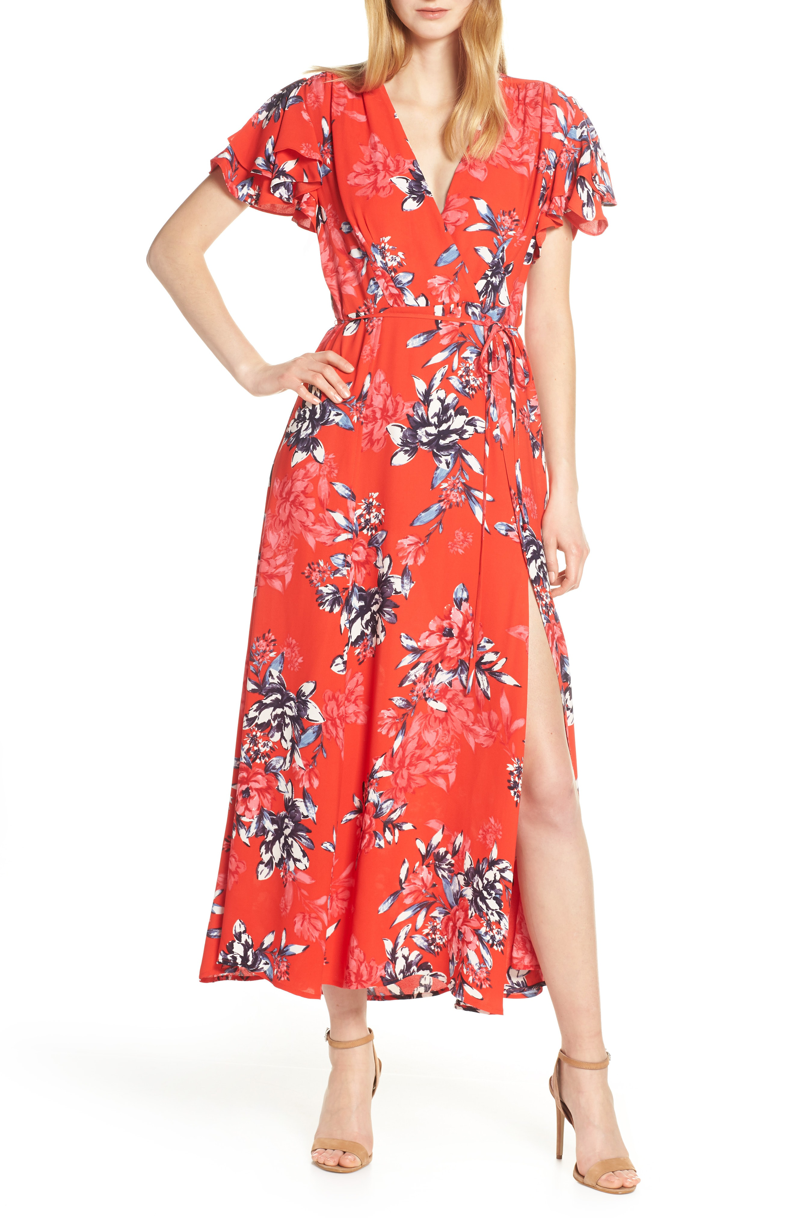 3985267f505 French Connection Colletta Faux Wrap Maxi Dress In Bright Flame Multi