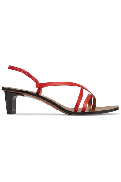Atp Atelier Nashi Leather Slingback Sandals In Red