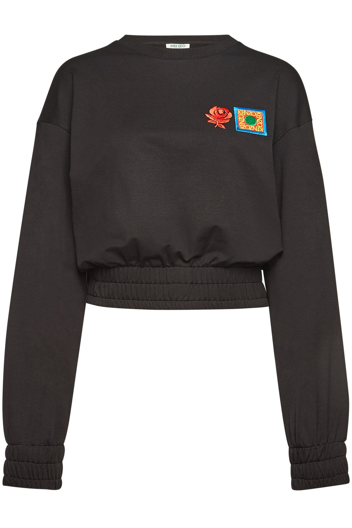 Kenzo Embroidered Cotton Sweatshirt In Black