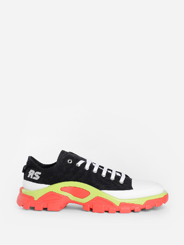 Raf Simons Adidas Originals Detroit Runner Rubber-trimmed Canvas Sneakers In 09930 Bkred
