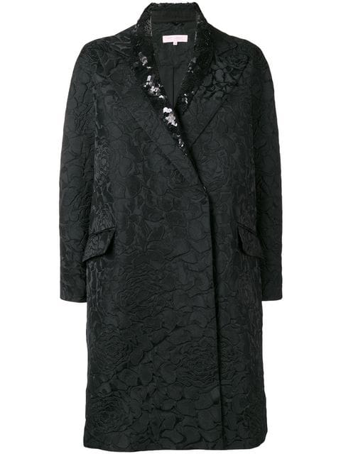Dice Kayek Sequin Collared Coat In Black
