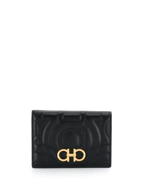 Salvatore Ferragamo Foldover Gancio Wallet In Black