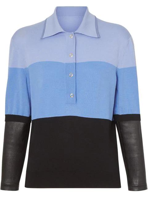 Burberry Long-Sleeve Lambskin Detail Wool Polo Shirt In Blue