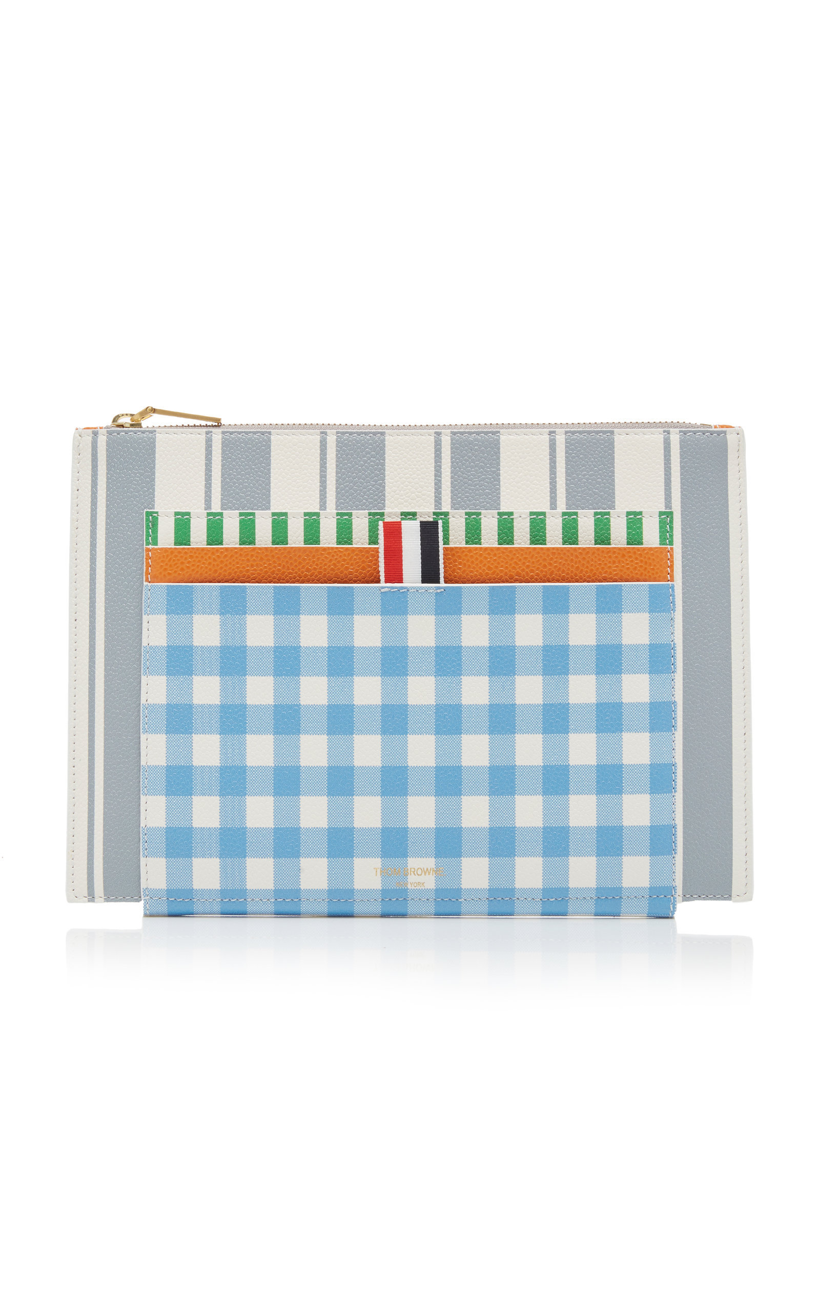 d9d5bfec162 Thom Browne Striped Textured-Leather Card Holder In Multi | ModeSens