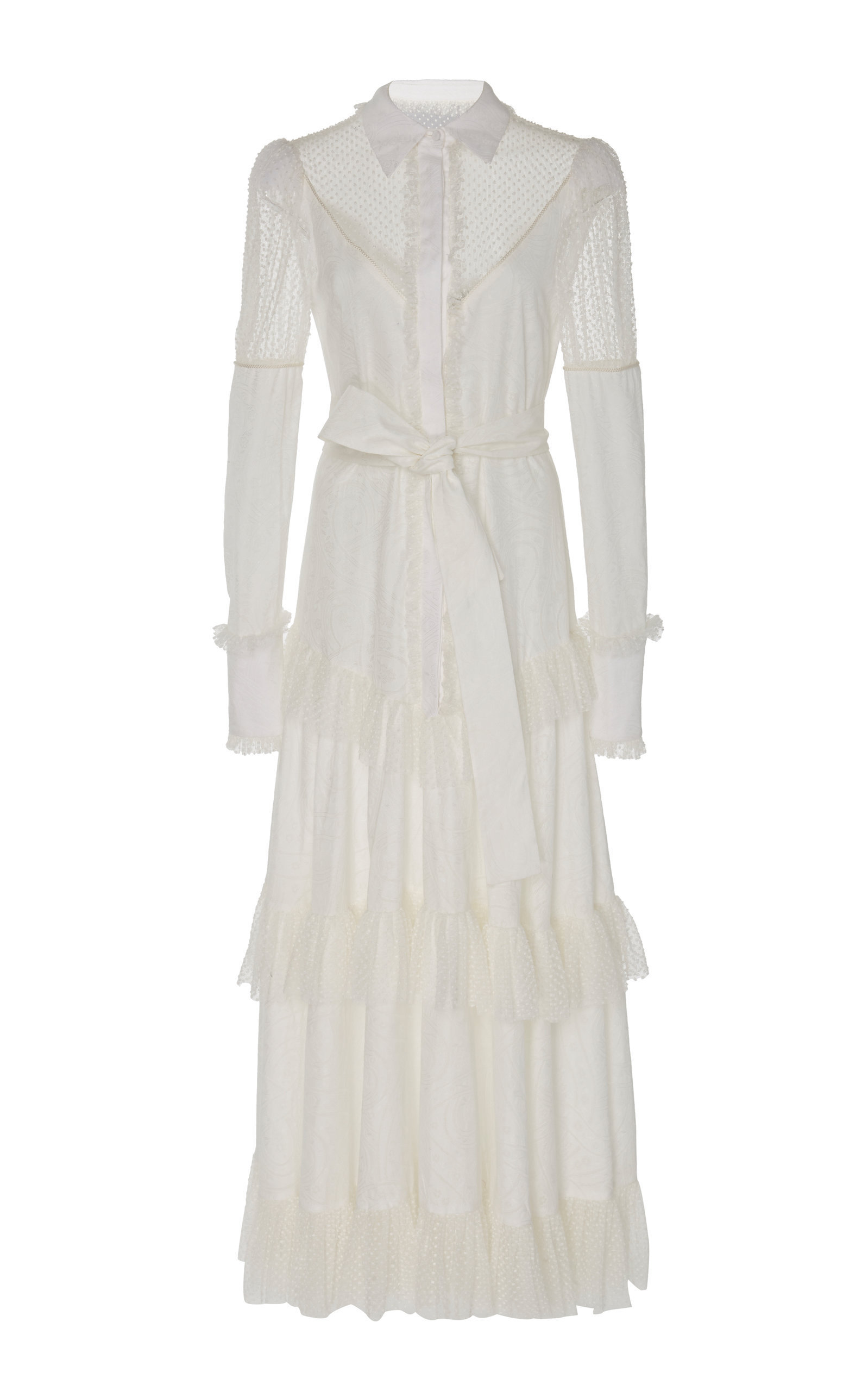 a1f7fed6526d2b Alexis Evarra Tiered-Hem Ruffled-Lace Maxi Dress In White | ModeSens